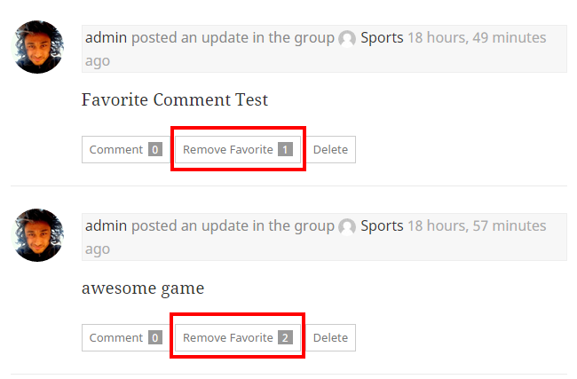 Display Favorite Count after each activity in Buddypress